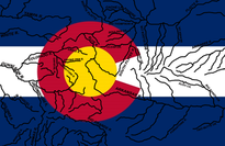 Colorado Flag with Rivers