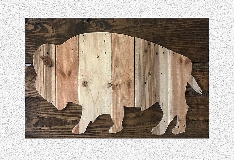 Handcrafted Rustic Wood Buffalo Wall Decor Art
