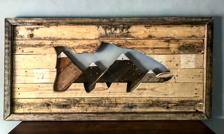 Custom Framed Trout Cutout With Snow Capped Mountains