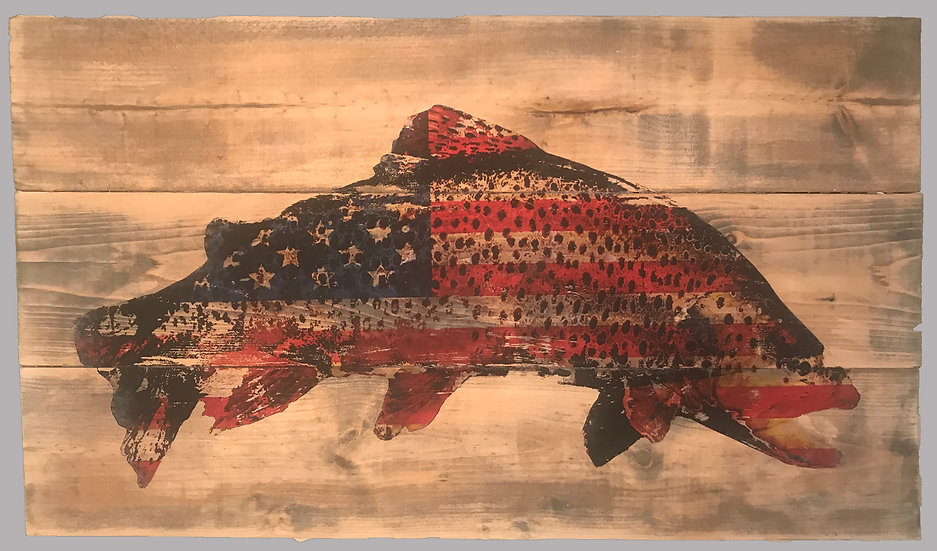Patriotic American Flag Trout on Rustic Wood