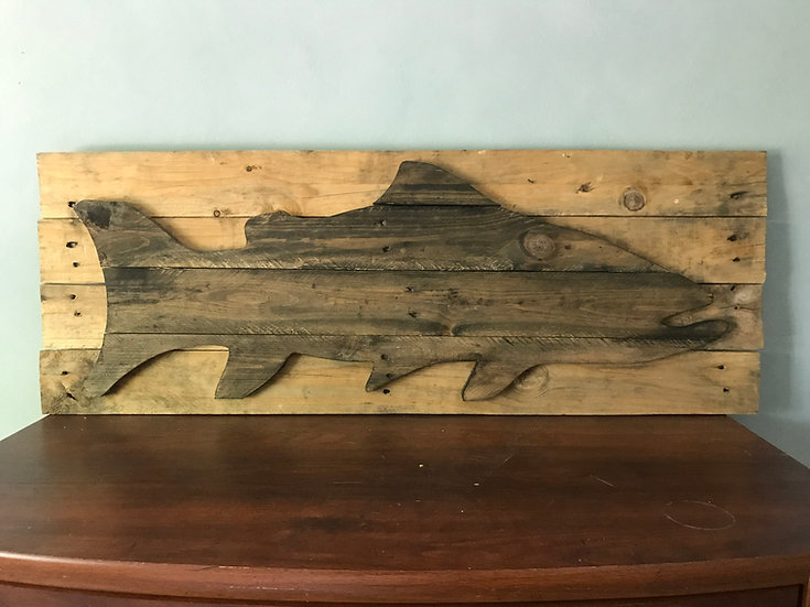 Rustic Reclaimed Trout on Wood Wall Decor