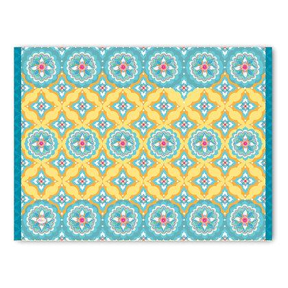 שטיח pvc דגם אתני תכלת צהוב