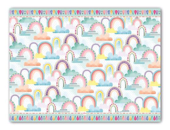 לילדים- דגם קשת וענן רקע לבן pvc שטיח