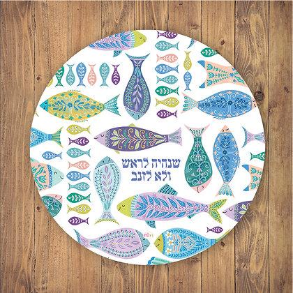 ראנר/פלייסמט פי.וי.סי עגול - דגם דגים