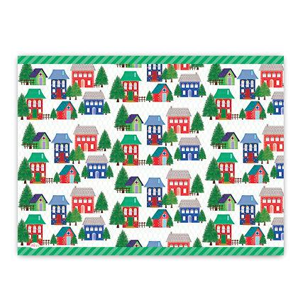 פלייסמט פיויסי- דגם בתים ביער