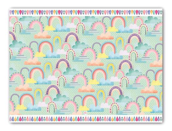 לילדים- דגם קשת וענן רקע מנטה pvc שטיח
