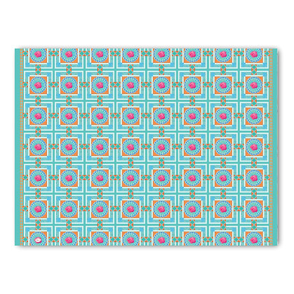 שטיח pvc דגם ריבועים טורכיז