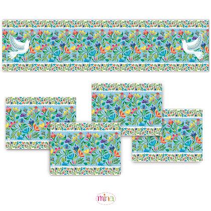 ראנר פי.וי.סי וארבעה פלייסמטים- דגם פרחים ויונה