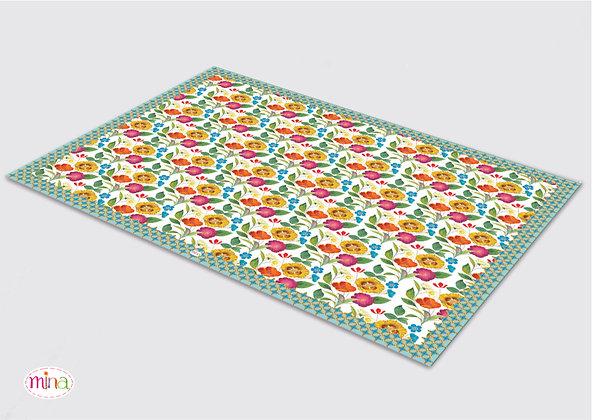 שטיח pvc דגם פטרן רומנטי לבן