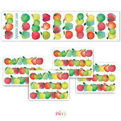 ראנר פי.וי.סי וארבעה פלייסמטים- דגם תפוחים