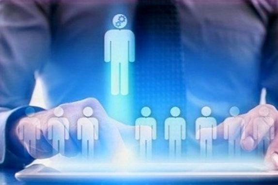 Descrição da imagem - Diga ao Google.  Sete desenhos de pessoas em forma de bonecos no nível inferior e um mais elevado, o qual está sendo selecionado por um pessoa na parte anterior da imagem.