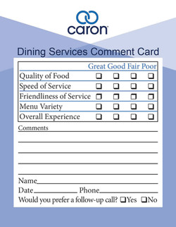 Food Service Comment Card