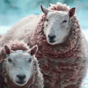 fabric art illlustration sheep