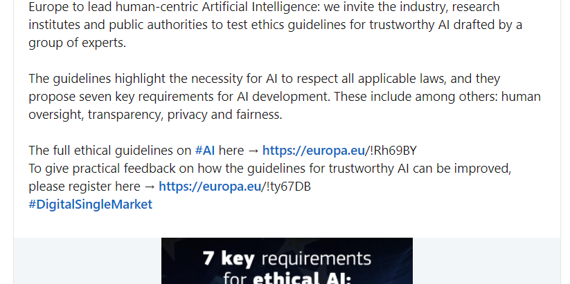 European Ethical AI Guidelines (Snapshot)