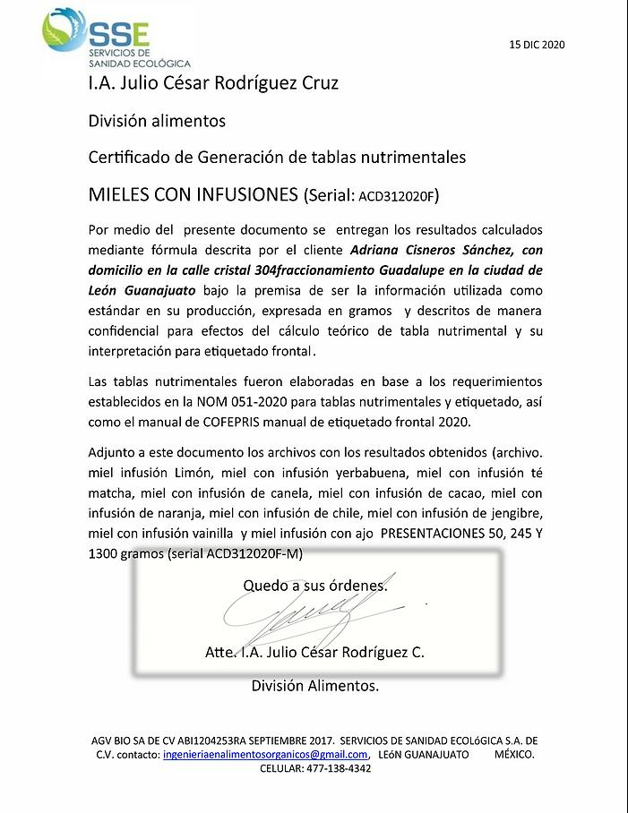 Constancia de CÁLCULO TABLAS NUTRIMENTAL