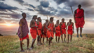 Massai warriors jumping on a Tanzania Sa