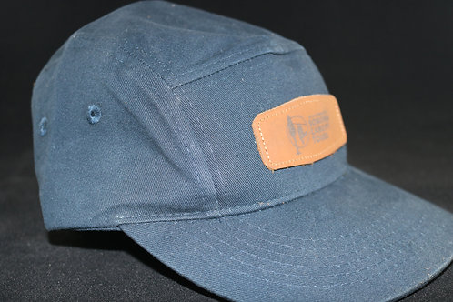 5 Panel Black-Grey Hat with Canopy Tour Logo on Leather