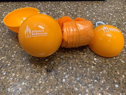 Disposable Rain Poncho with keepsake ball