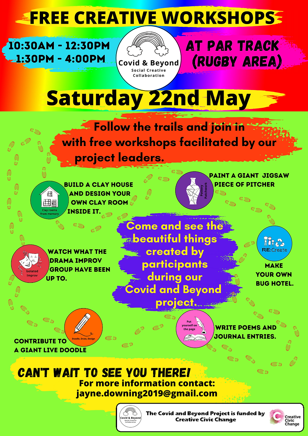 covid and beyond free art workshops poster