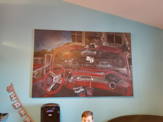 Movie buff, classic car buff—this painting on canvas pleases both!