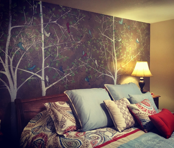 Whimsical mural to complement a colorful comforter