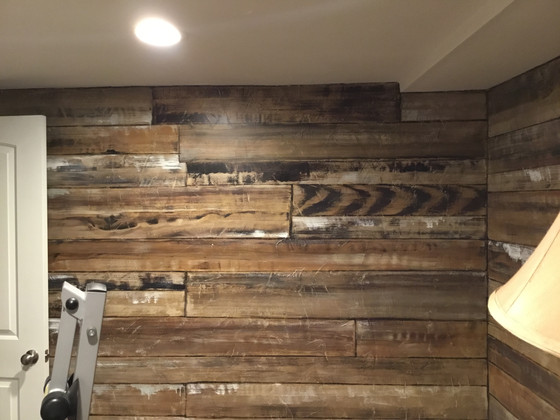 """Painted """"reclaimed wood"""" makes a small room cozy"""