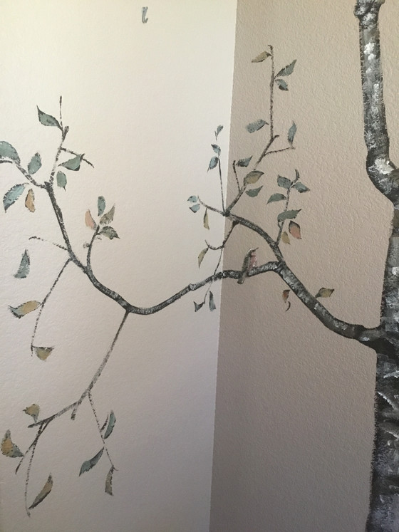 Aspens and birds for a peaceful dining room