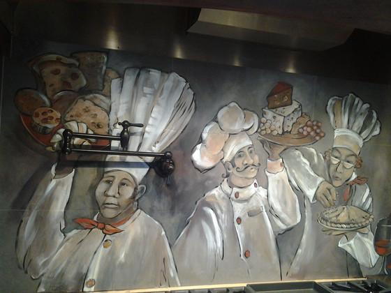 Custom kitchen mural—on tile backsplash