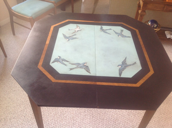 Custom painted antique dining table