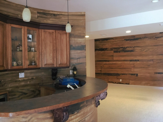 """Painted """"reclaimed wood"""" warms up a family room"""