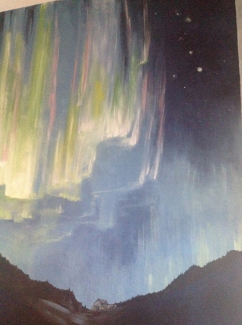 Aurora Borealis mural for a home sick Alaskan