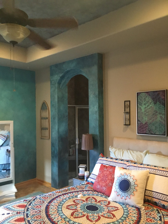 Bright colors update a cool NM bedroom