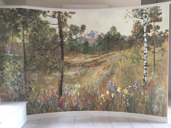 Entryway mural highlights the home's view