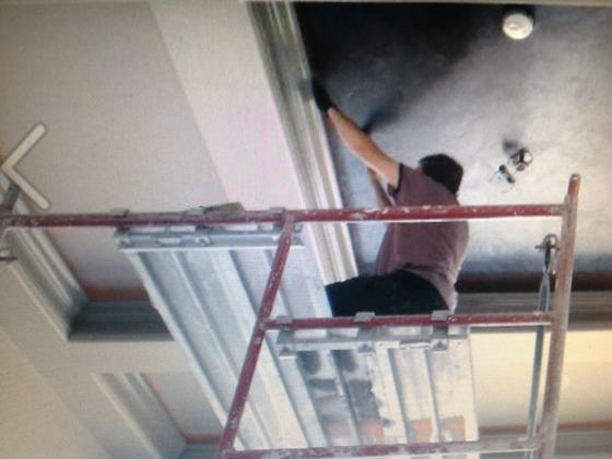 Custom coffered ceiling finish