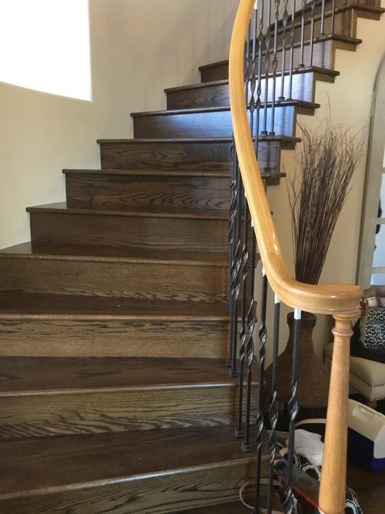 Golden oak to dark walnut: a handrails tale