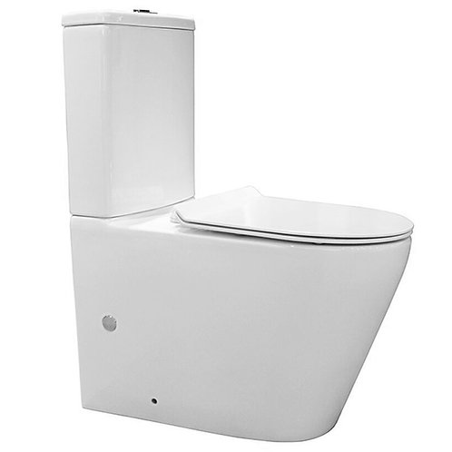 CleanFlush WELS Wall-Faced Soft Close Ceramic Toilet Suite With Thin Flat Seat