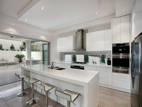 3 Meters Straight-line Kitchen with 2 Meters Island with WATERFALL