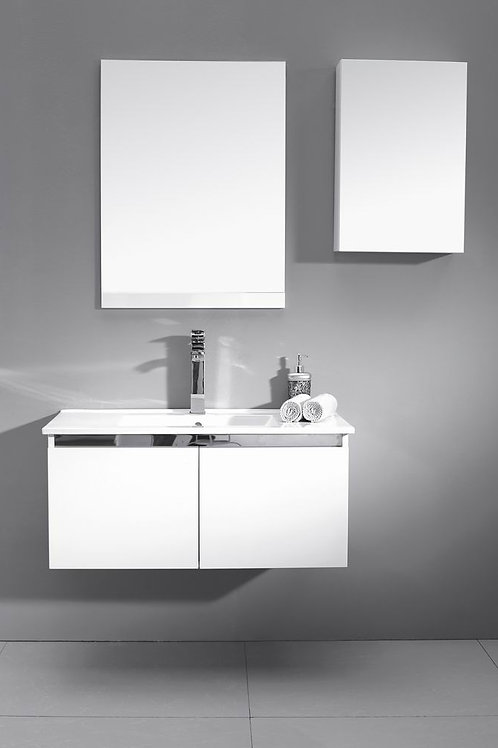 Wall Hung Stainless Steel Trim 900mm Soft-Close Vanity + Ceramic Basin Top