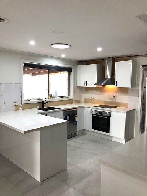 Hoppers Crossing - MDF 2pc Gloss Kitchen with Essential Range Quartz Stone top