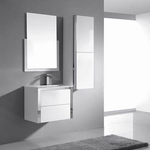 Wall Hung Stainless Steel Trim 600mm Soft-Close Vanity+Ceramic Basin Top