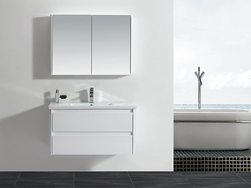 Wall Hung 900mm Soft-Close Vanity Unit+Ceramic Basin Top