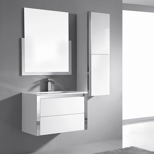 Wall Hung Stainless Steel Trim 750mm Soft-Close Vanity+Ceramic Basin Top