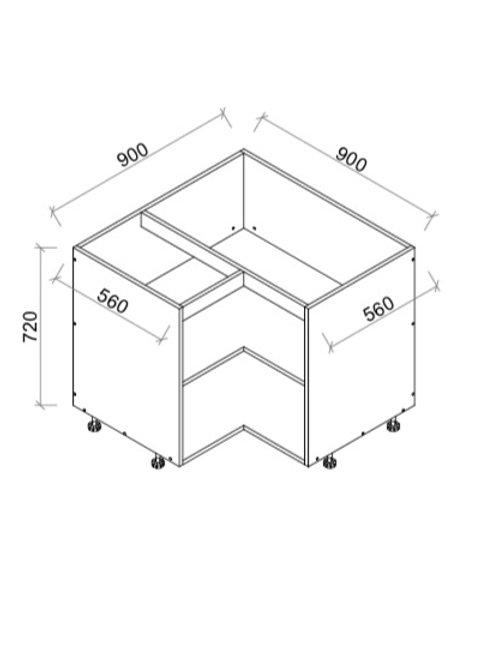 High Gloss Kitchen L shape base cabinet Softclose