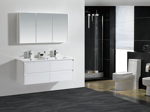 Wall Hung 1200mm Soft-Close Vanity Unit+Double Ceramic Basin Top