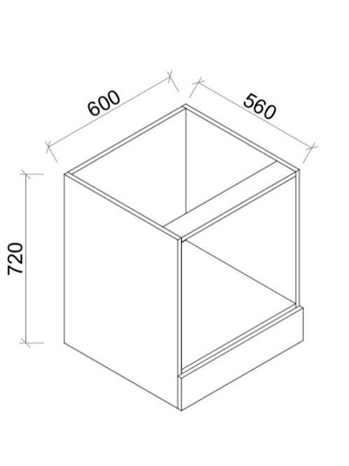 Kitchen 1 drawer M/W cabinet 600mm