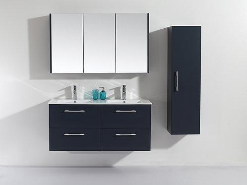 Wall Hung 1200mm Soft-Close Vanity Unit+Double Ceramic Basin Top