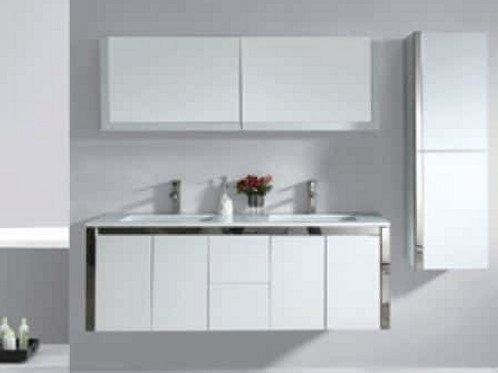 1500mm wall hung stainless trim-line vanity + Ceramic basin top Double