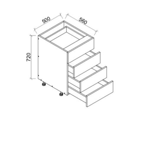 Kitchen 4 drawer base cabinet Soft-Close 500-4