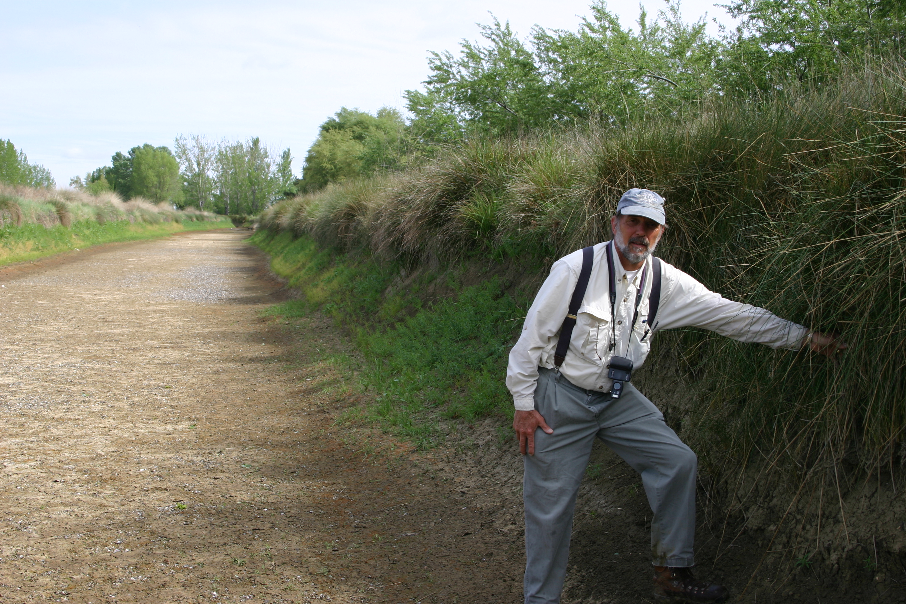 John Anderson in a vegetated canal