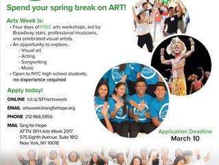 FREE 4-DAY ARTS PROGRAM DURING SPRING BREAK 2017